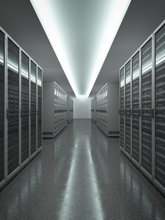 server farm: Data Center with long row of servers. 3d render Stock Photo