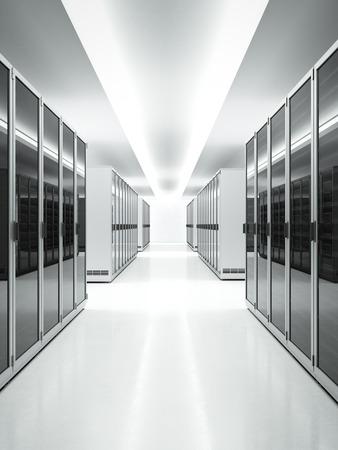 データ センターの白のインテリア。3 d のレンダリング