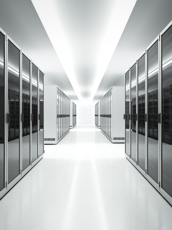 White interior of Data Center. 3d render Imagens