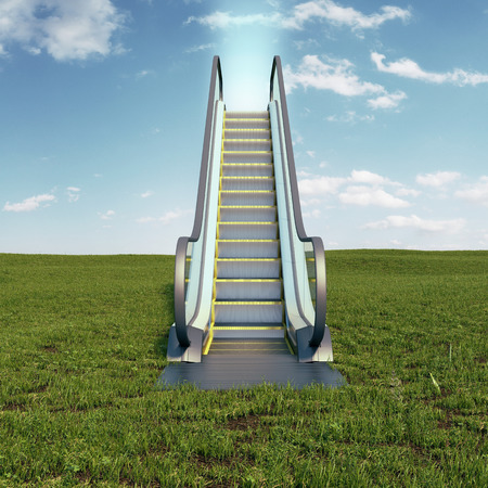 easy way: Field with escalator to the sky. 3d render