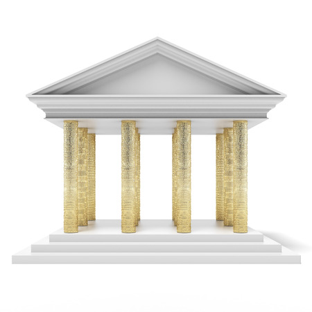 Bank building with coins instead of columns isolated on a white background. 3d render photo