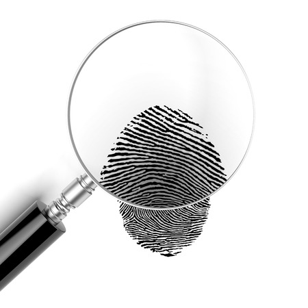 blue glass: Magnifying glass  with finger print isolated on a white background. 3d render