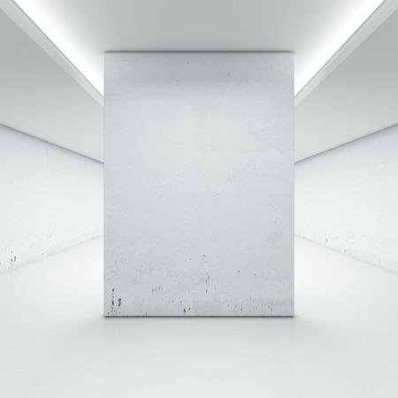 Großer Saal mit weißen Wand auf einem weißen Hintergrund. 3d render