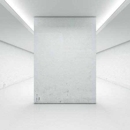 Large hall with white wall isolated on a white background. 3d render Stock Photo