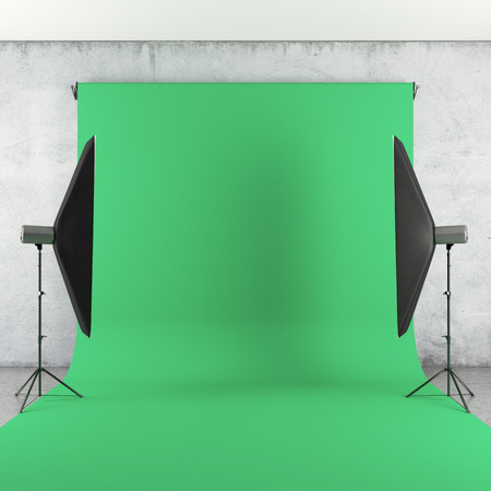 photography backdrop: Photo Studio with Lights and Green Backdrop. 3d render