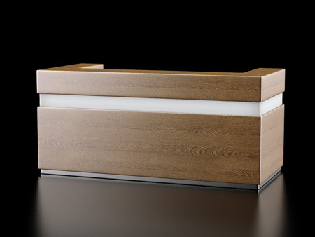Wooden reception, exhibition counter on black. 3d render photo
