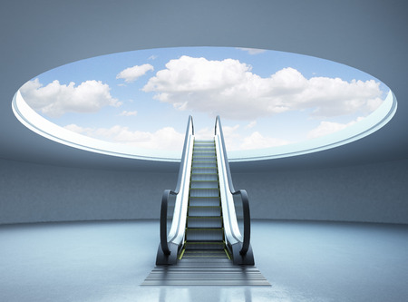 going up: Escalator stairway to success. Blue sky. 3d render