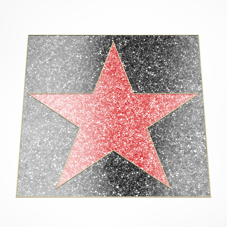 memorial plaque: Red star plate isolated on a white background. 3d render