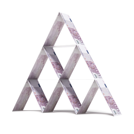euro house of cards  isolated on a white background. 3d render photo