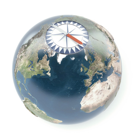 terrestrial: compass with terrestrial globe  isolated on a white background. 3d render Stock Photo