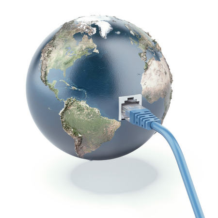 ethernet cable:  ethernet connected globe isolated on a white background. 3d render