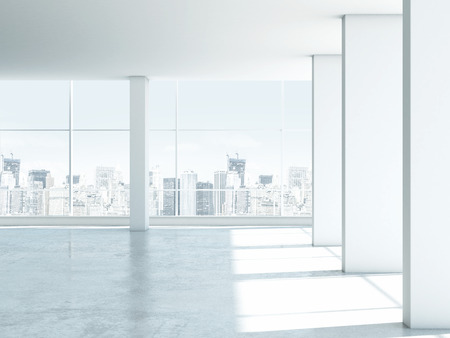 White empty office interior with windows. 3d render Stock Photo