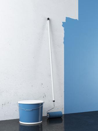 空の白い壁の絵画。3 d のレンダリング