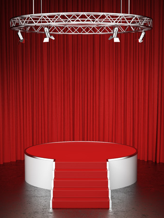 circus stage: Red scene and red curtains. 3d render