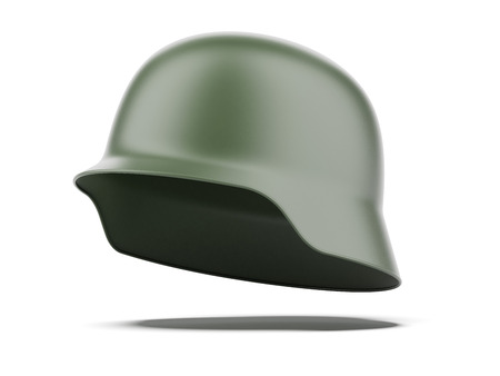 german soldier: Green helmet  isolated on a white background. 3d render Stock Photo