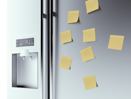 icebox:  yellow notes on fridge background  isolated on a white background. 3d render Stock Photo