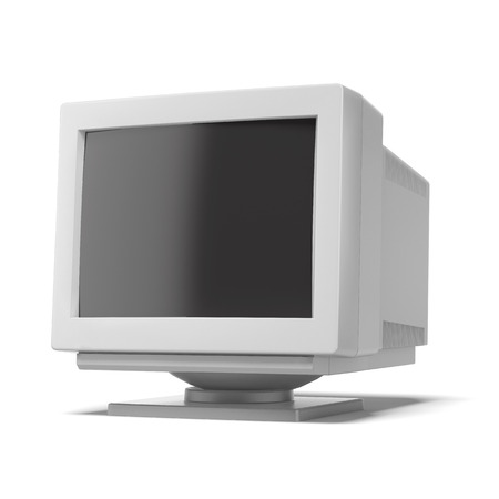 old computer monitor isolated on a white background. 3d render photo