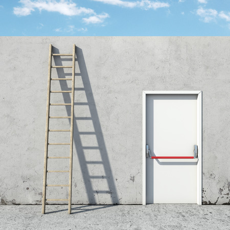 choice between the door and ladder. 3d render Stock Photo