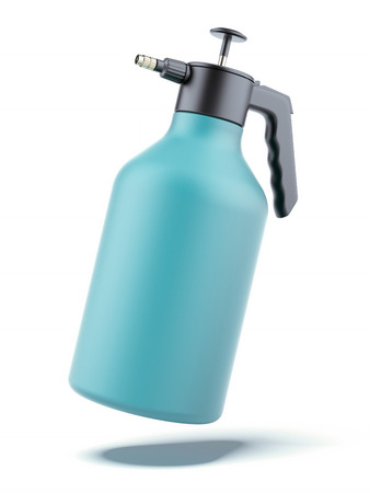 desinfectante: botella de la bomba-pulverizador aisladas sobre un fondo blanco. 3d
