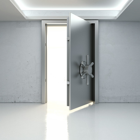 Light through a half-open door of the bank safe. 3d render photo