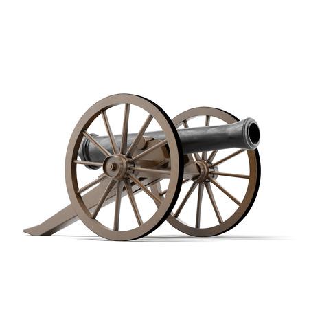 白い背景上に分離されて黒の大砲。3 d のレンダリング