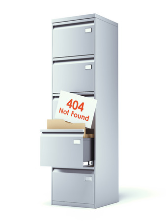 archive site: file cabinet with error isolated on a white background. 3d render