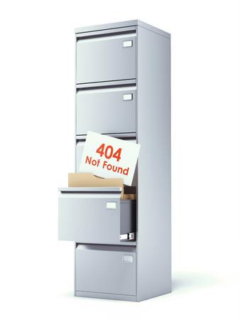 file cabinet: gabinete de fichero con el error aislado en un fondo blanco. 3d