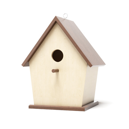 bird house: Wooden bird box  isolated on a white background. 3d render Stock Photo