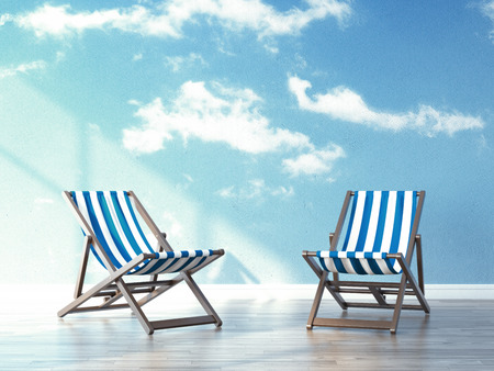 idling: beach chairs in interior with sky on wallpapers. 3d render