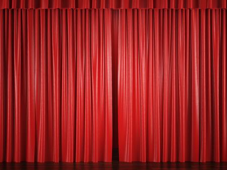 cortinas rojas: cortinas de color rojo con un punto brillante. 3d Foto de archivo
