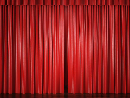 red curtains: red curtains with a bright spot . 3d render Stock Photo
