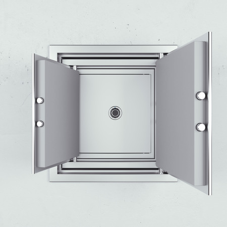 safety box: safe in another one on the concrete wall. 3d render
