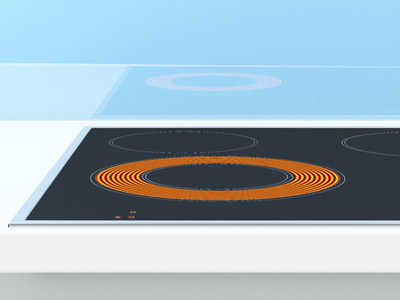 Induction stove on the blue background. 3d render photo