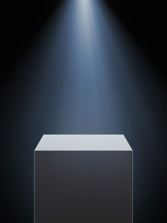 Empty showcase with spotlight isolated on a black background. 3d render photo