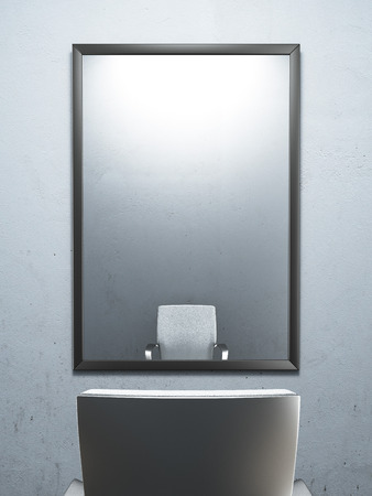 chair in front of a mirror. 3d render photo