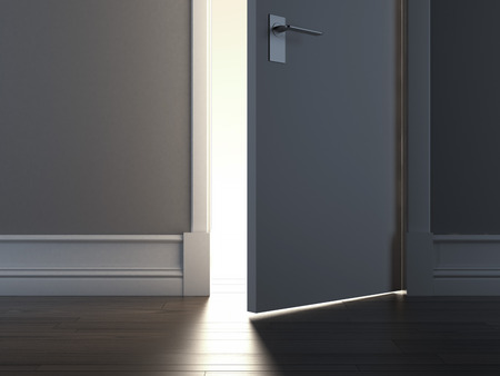 room door: Open door with warm light. 3d render Stock Photo