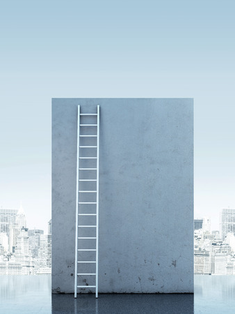 ascends: Ladder against a narrow wall. 3d render