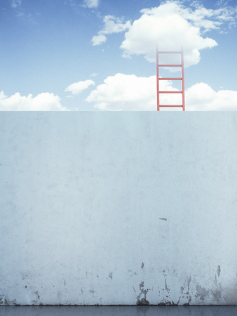 descends: red ladder in the sky behind the wall. 3d render Stock Photo