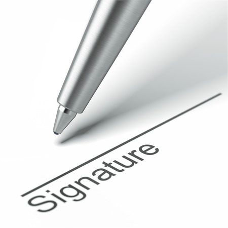 Pen and signature  isolated on a white background. 3d render photo