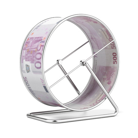 going nowhere: Euro Hamster Wheel  isolated on a white background. 3d render Stock Photo