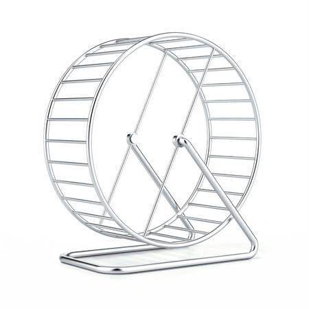 Hamsterrad auf einem weißen Hintergrund. 3d render Standard-Bild
