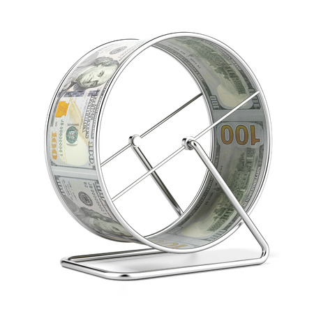 ドル ハムスター ホイールが白い背景に分離されました。3 d のレンダリング