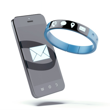 wristband: Smartphone and smart wristband isolated on a white background. 3d render Stock Photo