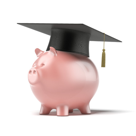 Piggy Bank with Black Graduation Hat isolated on a white background. 3d render