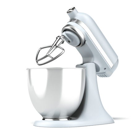 Opened Blue stand mixer  isolated on a white background. 3d render