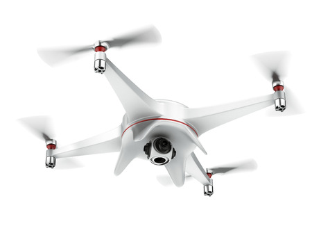 drone: White quadrocopter isolated on a white background. 3d render Stock Photo