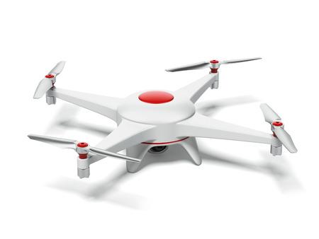 Weiße und rote Quadrokopter auf einem weißen Hintergrund. 3d render Standard-Bild