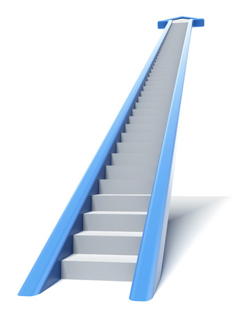 next stage: Blue arrow stair isolated on a white background. 3d render