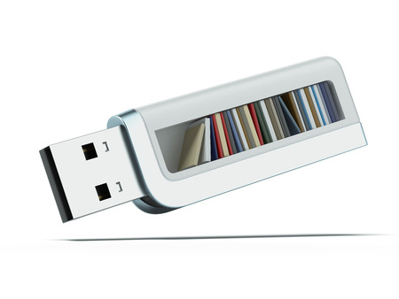 digital library: usb flash drive and books isolated on a white background. 3d render