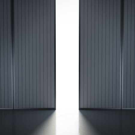 light in open hangar doors . 3d render photo